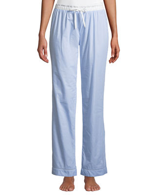 MAISON LEJABY Pyjama Ladder-Stitched Pants in Blue/White