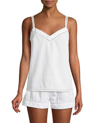 MAISON LEJABY Ladder Stitch-Trim Pyjama Camisole in White