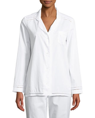 MAISON LEJABY Pyjama Ladder-Stitched Long-Sleeve Shirt in White