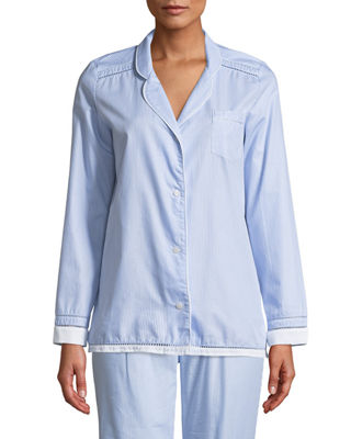 MAISON LEJABY Pyjama Ladder-Stitched Long-Sleeve Shirt in Blue/White