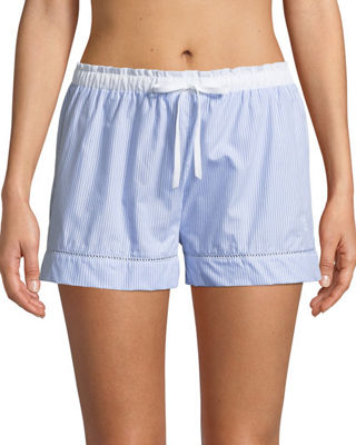 MAISON LEJABY Ladder Stitch-Trim Pyjama Shorts in Blue/White
