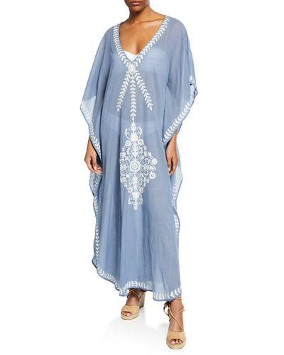 Saadi Cotton Voile Coverup with Embroidery