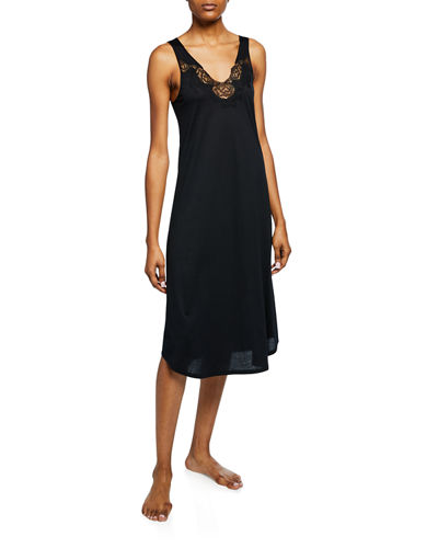 Fleur Floral-Embroidered Tank Nightgown