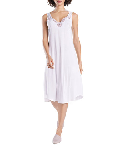 Natori Tops Fleur Floral-Embroidered Tank Nightgown
