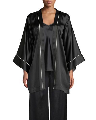 Quick Look. Neiman Marcus · Contrast-Piped Silk Kimono Robe ecbb6fa84