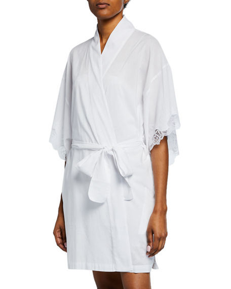 Natori Shorts LACE-TRIM SHORT COTTON ROBE
