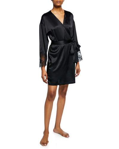 Josie Natori Sleek Lace-Trim Silk Robe