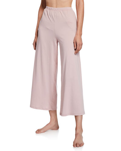 Skin Sevingy Cropped Wide-Leg Cotton Lounge Pants