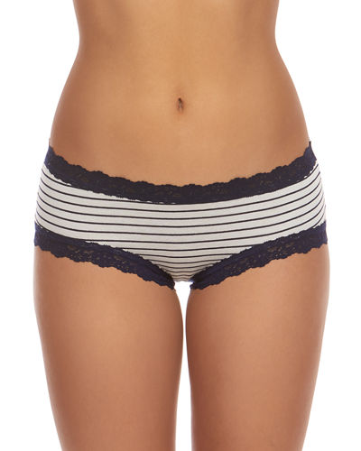 Striped Jersey Lace-Trim Girlkini Boy Shorts