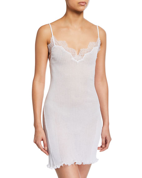Zimmerli Tops RIBBED COTTON CHEMISE WITH LACE TRIM