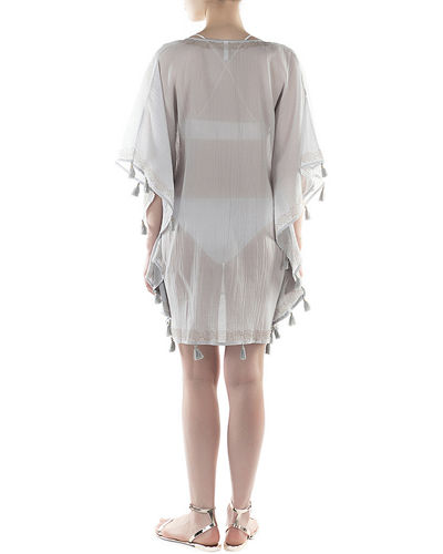 Flora Bella Haven V-Neck Short Kaftan w/ Fringe