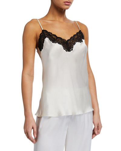 Lace-Trim Silk Lounge Camisole