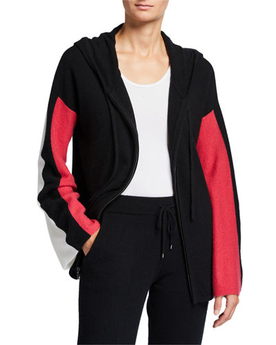 Neiman Marcus Cashmere Collection Cashmere Colorblock Zip-Front Hoodie