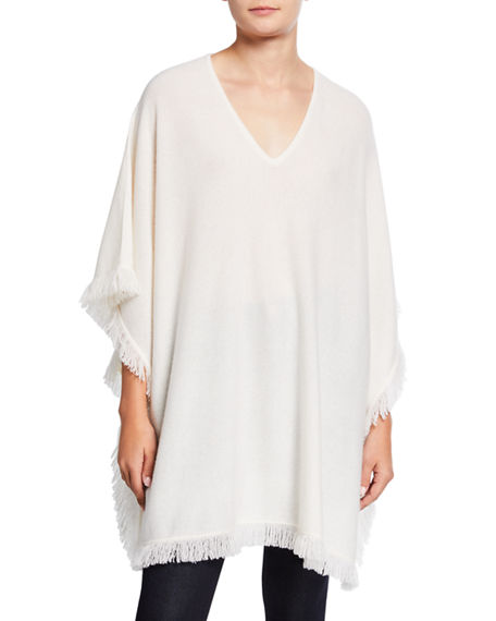 Neiman Marcus Cashmere Collection Cashmere Fringe-Trim Poncho
