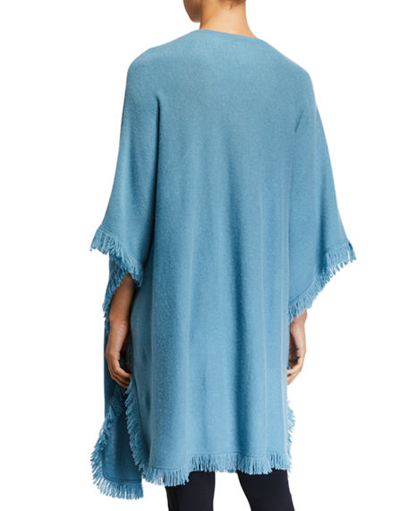 Image 3 of 3: Neiman Marcus Cashmere Collection Cashmere Fringe-Trim Poncho