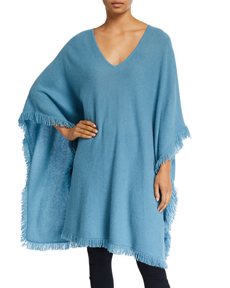 Image 1 of 3: Neiman Marcus Cashmere Collection Cashmere Fringe-Trim Poncho