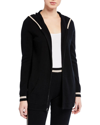 Neiman Marcus Cashmere Collection Cashmere Metallic-Trim Zip-Front Hoodie