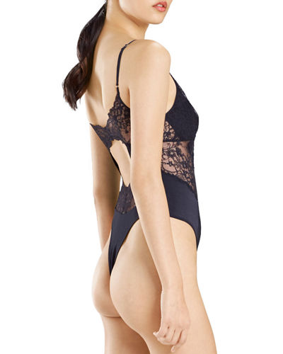 Josie Natori Sleek Lace-Trim Bodysuit