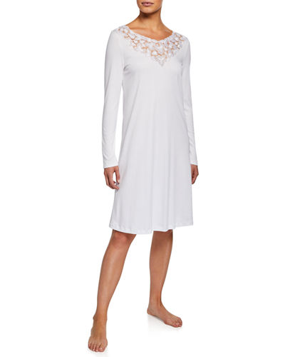 Aurelia Long-Sleeve Nightgown with 3D Floral Lace Detail