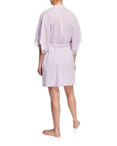 Natori Lace-Trim Short Cotton Robe