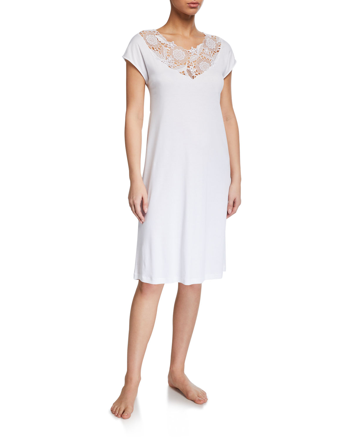 Hanro Tops FLORAL CAP-SLEEVE NIGHTGOWN