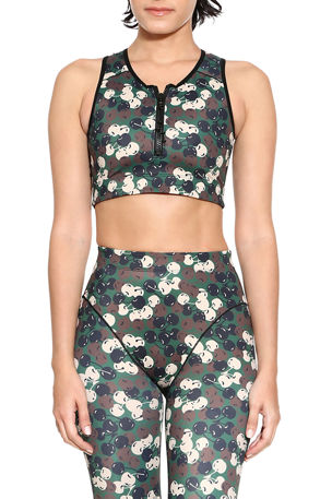 Adam Selman Sport Zip-Front Cherry-Print Crop Top