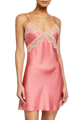 Samantha Chang Classic Lace-Trim Silk Chemise
