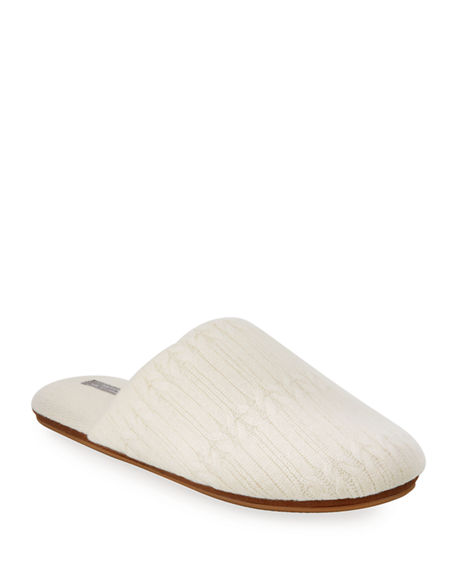 Neiman Marcus Cashmere Collection Cable-Knit Cashmere Slippers