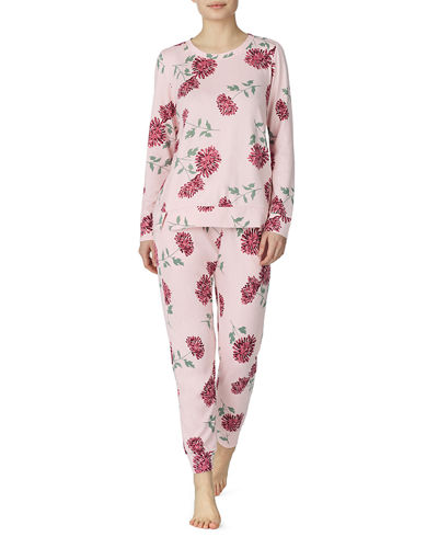 goodnight embroidered sweater-knit pajama set