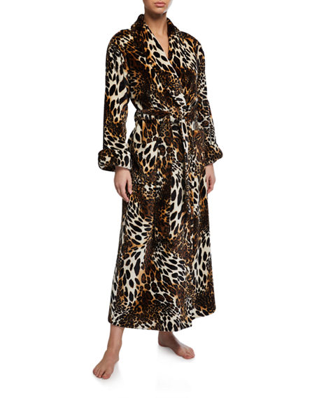 Natori Leopard-Print Faux Fur Long Robe