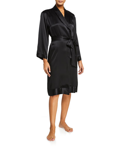 Josie Natori Essentials Key Silk Wrap Robe