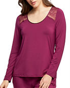 Fleur't Scoop-Neck Long-Sleeve Lounge Top w/ Keyhole Back