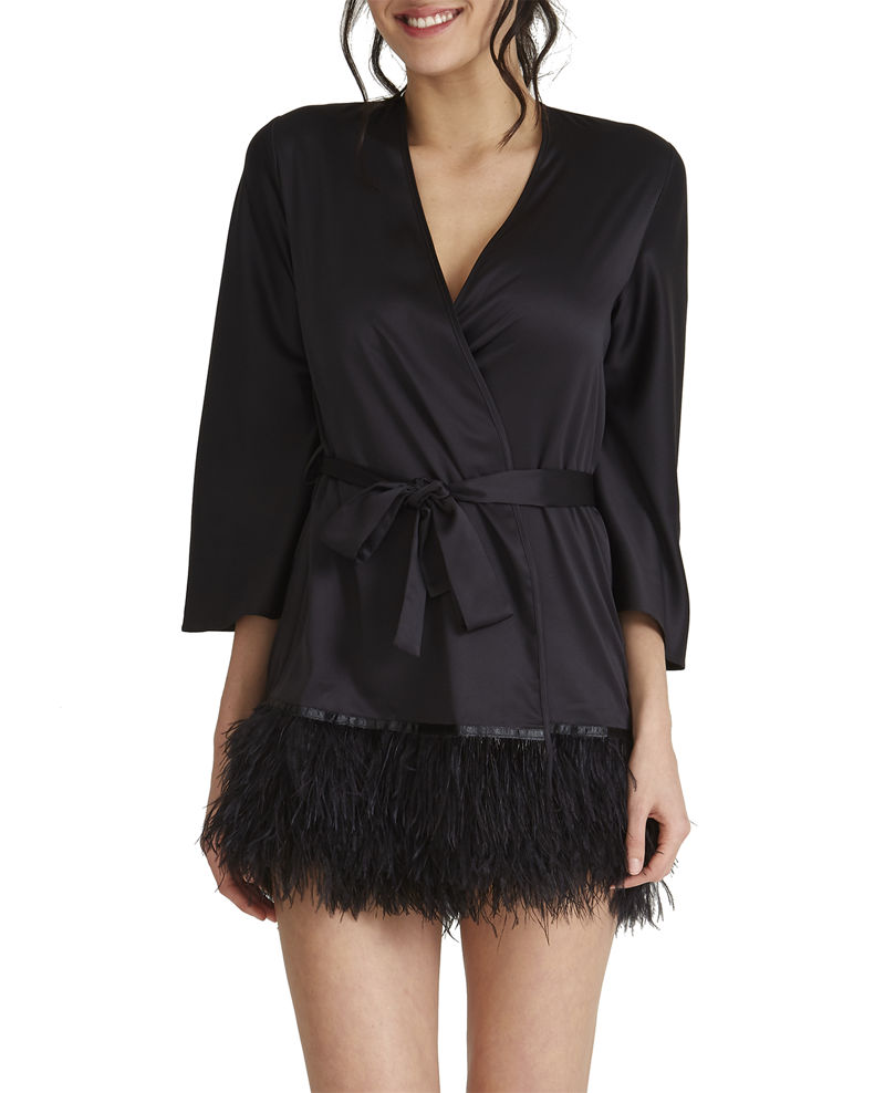 Rya Collection Swan Feather-Trim Robe