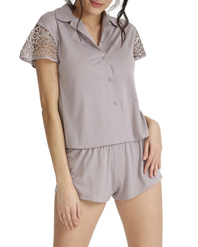 Gorgeous Lace-Sleeve Shortie Pajama Set