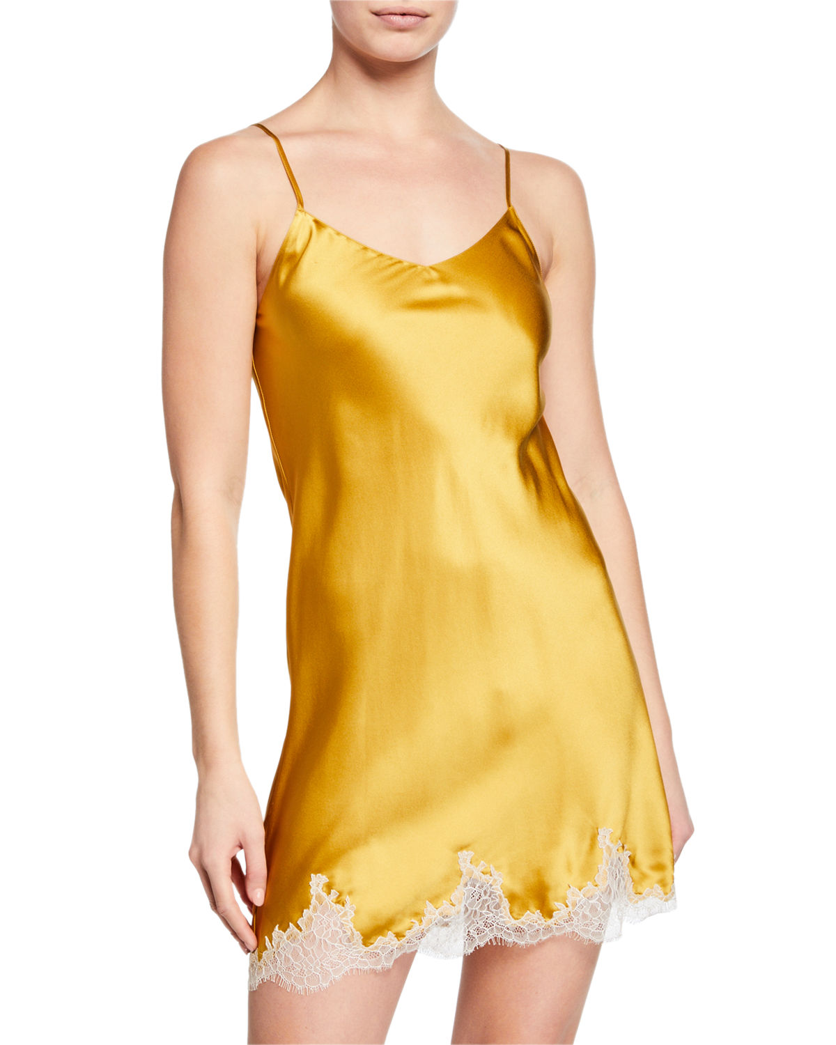 Ginia Tops BAROQUE LACE SILK CHEMISE
