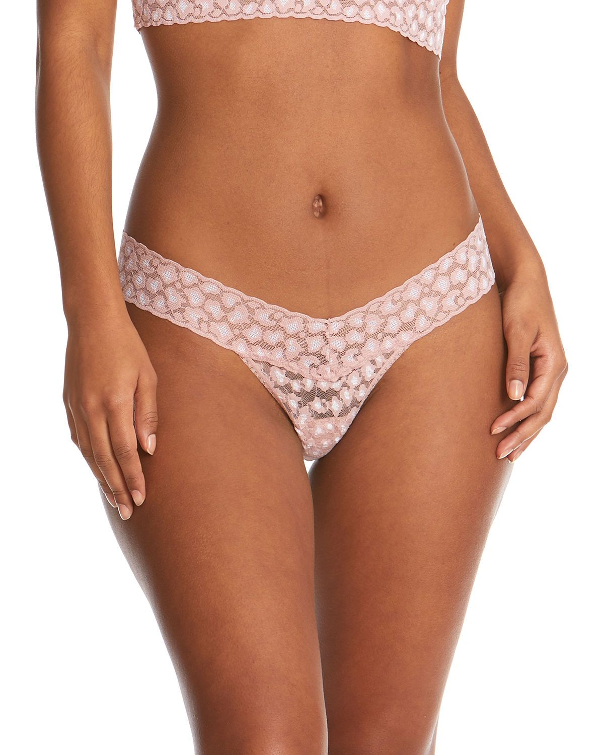 Hanky Panky LEOPARD CROSS-DYED LOW-RISE LACE THONG (ROLLED)