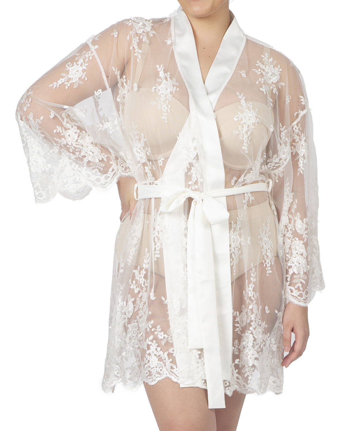 Rya Collection PLUS SIZE SHORT EMBROIDERED LACE SHEER ROBE