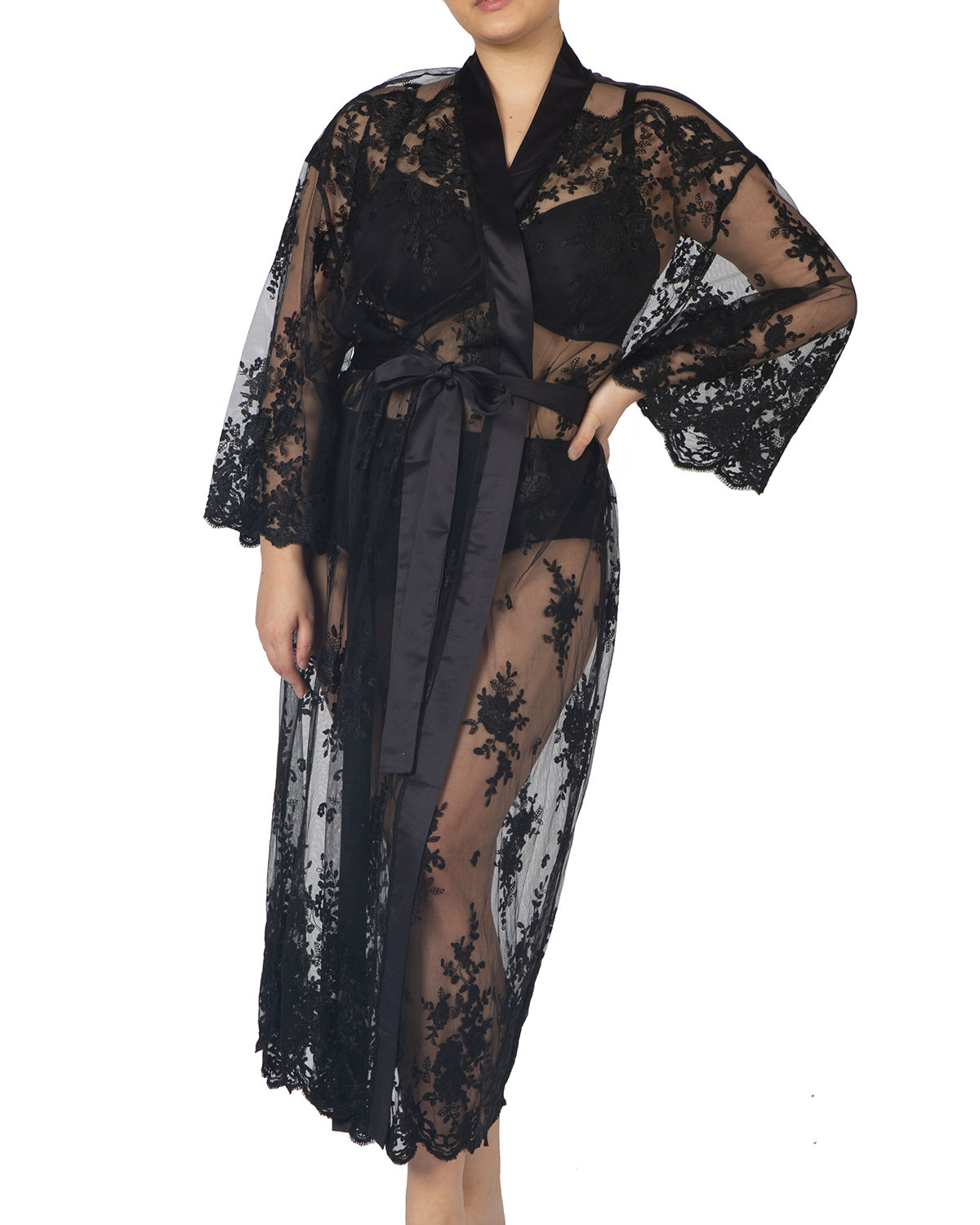 Rya Collection PLUS SIZE DARLING LONG EMBROIDERED LACE ROBE