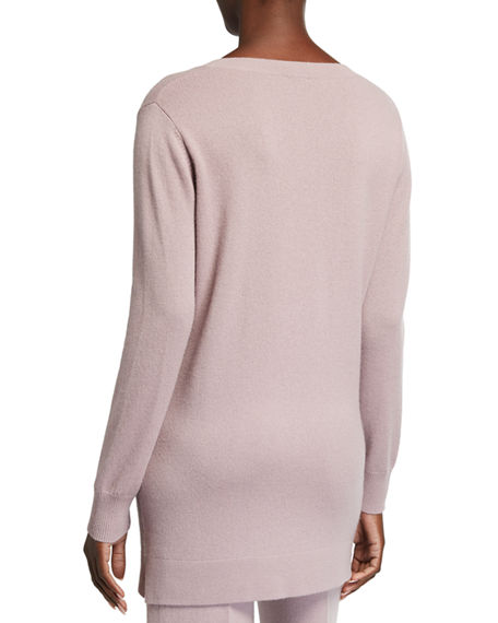 Image 2 of 2: Neiman Marcus Cashmere Collection Cashmere V-Neck Ribbed Trim Long Tunic