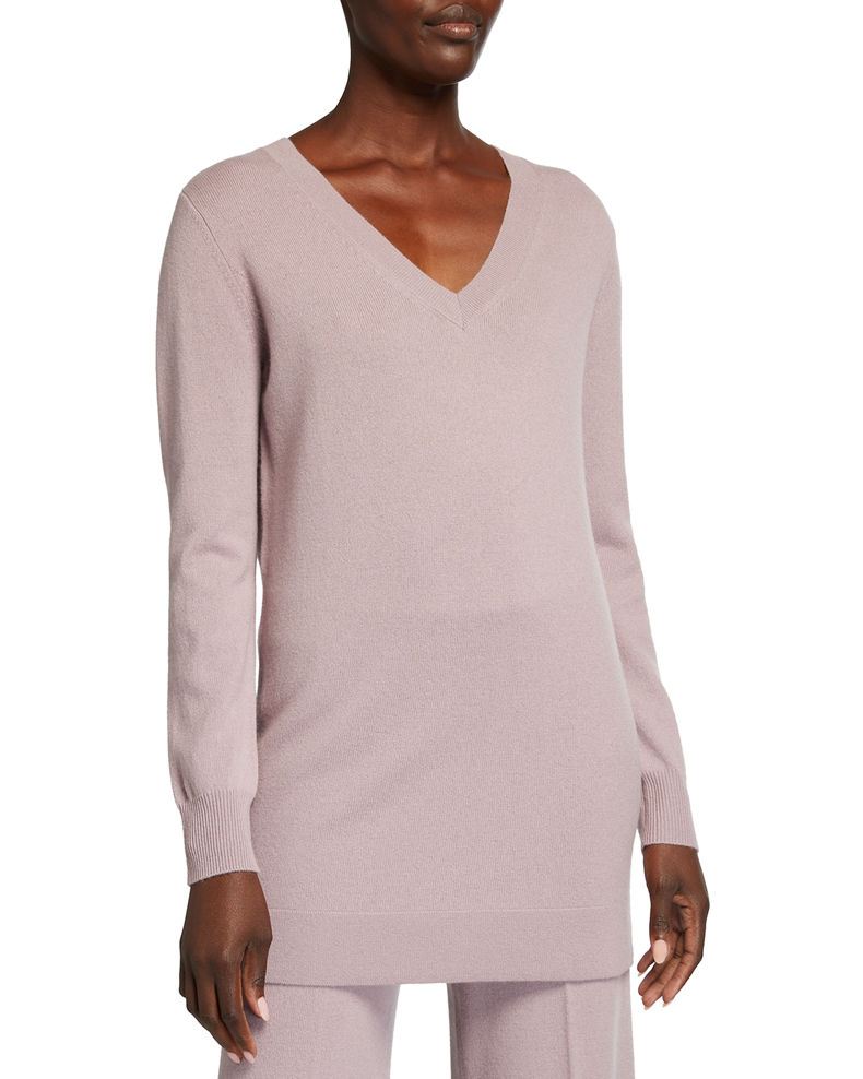Neiman Marcus Cashmere Collection Cashmere V-Neck Ribbed Trim Long Tunic