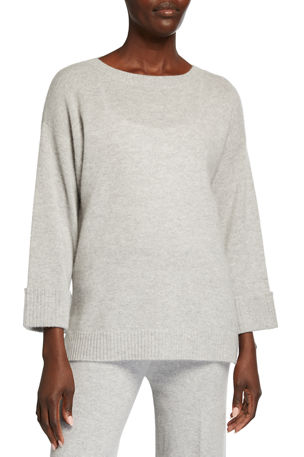 Neiman Marcus Cashmere Collection Ribbed Cuff Cashmere Tunic