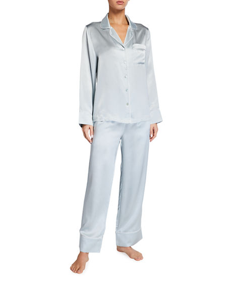 Neiman Marcus Basic Satin Pajama Set