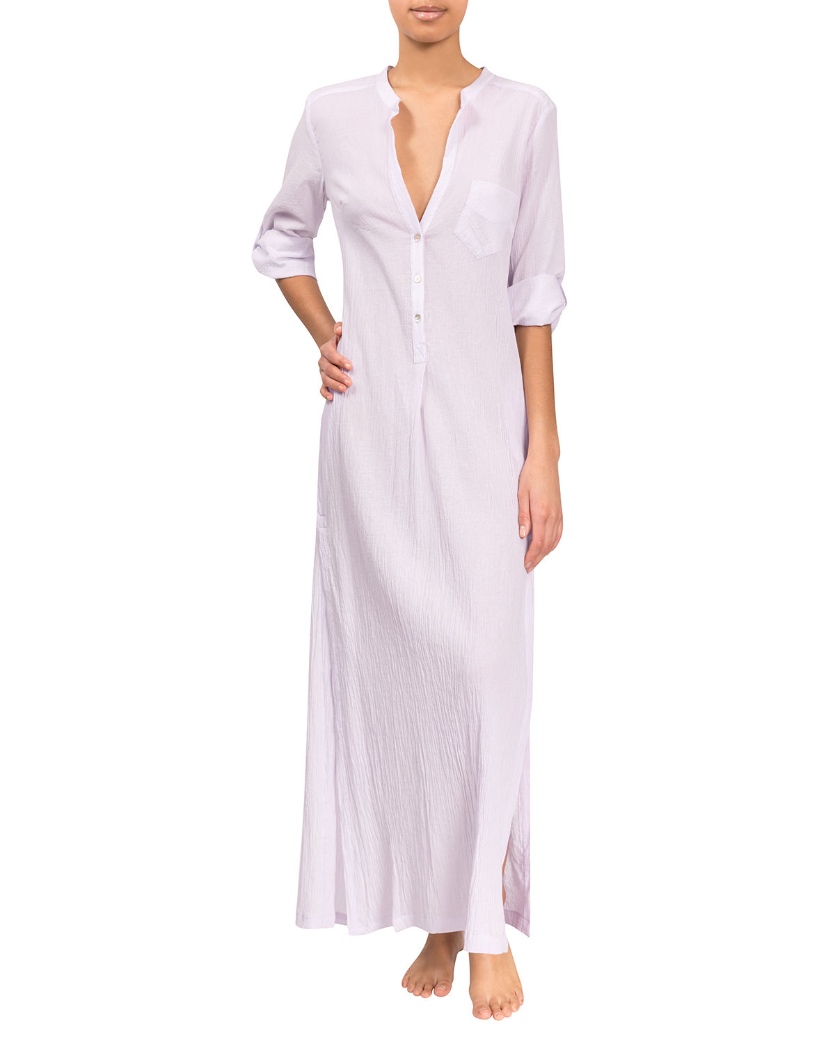 Tracey Cotton Henley Caftan