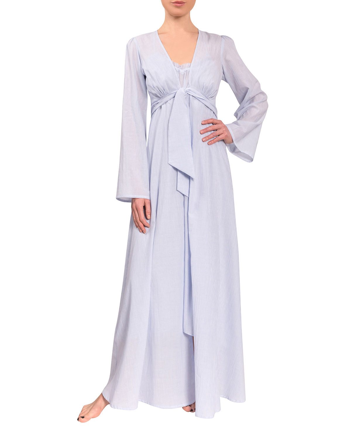 Diana Tie-Front Long Cotton Robe
