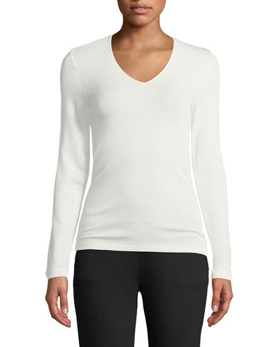 Silk-Blend V-Neck Top