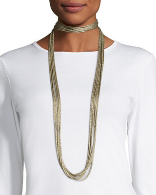 Lafayette 148 New York Tea Long Mesh Necklace,
