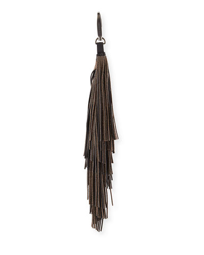 Brunello Cucinelli Monili Leather Fringe Keychain