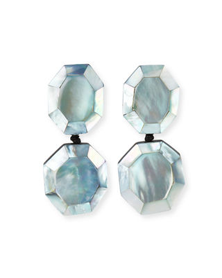 VIKTORIA HAYMAN Faceted Double-Drop Mother-Of-Pearl Clip-On Earrings in Silver