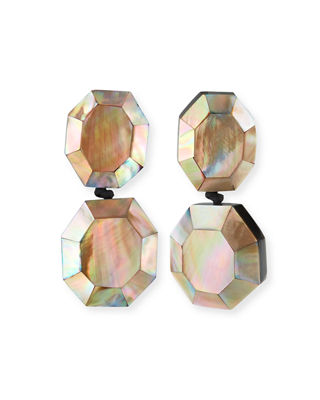 VIKTORIA HAYMAN FACETED DOUBLE-DROP MOTHER-OF-PEARL CLIP-ON EARRINGS