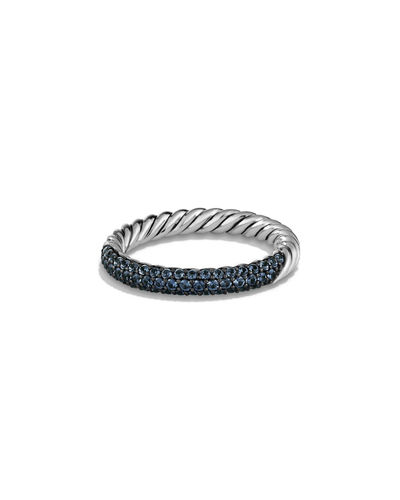 Twisted Half Pave Sapphire Band Ring